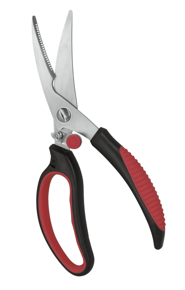 Ножницы кухонные Metaltex, длина 23 см25.18.01Кухонные ножницы Metaltex c нескользящей ручкой и зазубренным нижним лезвием предназначены для работы с продуктами, также легко справятся с разделкой и обработкой птицы. Эргономично разработанные ручки Soft Touch очень удобны для захвата и обеспечивают удобство при работе.Ручки ножниц выполнены из нетоксичного сверхпрочного пластика.Уникальный способ соединения ручек с лезвием гарантирует прочный спай между ними. Граненое лезвие для точного среза. Дизайн высококачественных нержавеющих стальных лезвий позволяет использовать режущую поверхность по всей длине лезвия. Механизм блокировки включается большим пальцем. Допускается мытье в посудомоечной машине.