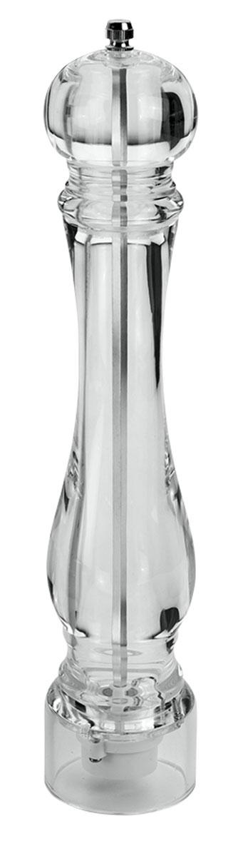 Мельница для специй Metaltex, цвет: прозрачный, высота 32 см25.28.26Мельница для перца Metaltex, изготовленная из акрила, легка в использовании. Она удивит вас высоким качеством, функциональностью и оригинальным дизайном. Стоит только покрутить верхнюю часть мельницы, и вы с легкостью сможете поперчить по своему вкусу любое блюдо. Механизм мельницы изготовлен из керамики. Степень измельчения специй, осуществляется завинчивания или ослабления винта верхней части корпуса.Абсолютная прозрачность изделия привнесет красоту и изящество в интерьер современной кухни и, конечно, в сервировку стола. Окружите себя стильными и изысканными предметами сервировки.