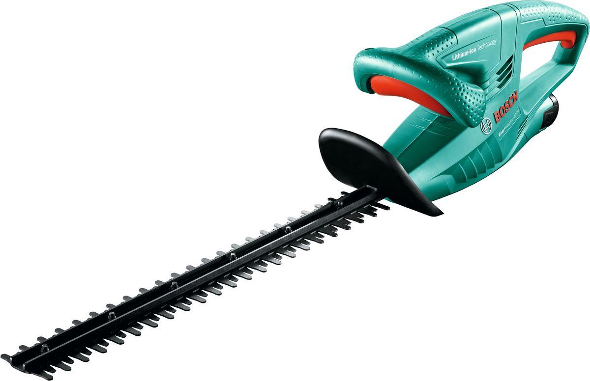Как сэкономить на аккумуляторном электроинструменте  Беспроводный садовый инструмент для подрезки живой изгороди и кустарников. Кусторез Bosch EasyHedgeCut 12-450 оснащен съемным литий-ионным аккумуляторным блоком мощностью 12В, емкостью 2 А-ч, зарядка которого выполняется за 45 мин. Особенностью модели Bosch AHS 55-20 LI является наличие антиблокировочной системы для беспрерывной работы этого садового аккумуляторного инструмента. Легкая и компактная конструкция Bosch EasyHedgeCut 12-450 позволяет работать длительное время, без физического утомления оператора.  Напряжение аккумулятора: 12 В  Ёмкость аккумулятора: 2 А/ч  Время зарядки аккумулятора: 1,5 ч  Кв.м. на одном заряде аккумулятора, макс.: 90 кв.м.  Длина ножа: 450 мм  Раскрытие зуба: 15 мм  Частота ходов на холостомходу: 2.400 ход/мин.