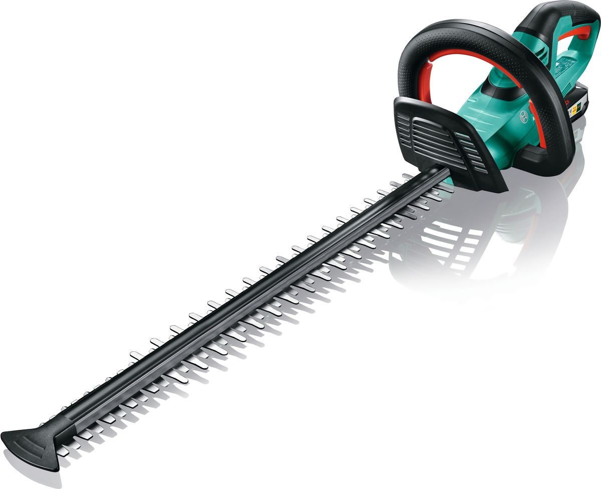 Кусторез Bosch AHS 55-20 LI, аккумуляторный. 0600849G000600849G00Кусторез аккумуляторный Bosch AHS 55-20 LI используется для обработки кустов и деревьев. Комфортной работе способствуют мягкие накладки на ручках. Преимущества изделия: Технология Quick-Cut гарантирует срезание веток и сучьев с первого раза - для быстрой и эффективной стрижки живой изгороди. Для комфортной и эргономичной работы с минимальным напряжением рук и спины. Антиблокировочная система обеспечивает беспрерывную работу там, где другие кусторезы уже не справляются. Мягкое покрытие на задней ручке, многопозиционная передняя ручка и прозрачная накладка для защиты рук для удобной работы в любом положении. Функция пиления: специальные зубья на передней части ножа легко справятся с ветками диаметром до 25 мм. Изготовленные по лазерной технологии ножи с алмазной заточкой обеспечивают чистоту и точность среза. Защитное устройство ножей для работы вдоль стен и фундамента. Один аккумулятор для всех электроинструментов и садовой техники Bosch 18 В Power for ALL. Технические характеристики: Напряжение аккумулятора: 18 В. Емкость аккумулятора: 2,5 А/ч. Время зарядки аккумулятора: 1 ч. Кв.м. на одном заряде аккумулятора, макс.: 200 кв.м. Длина ножа: 550 мм. Раскрытие зуба: 20 мм. Частота ходов на холостомходу: 2.600 ход/мин. Вес: 2,6 кг. Комплектация: Аккумуляторный блок PBA 18В 2,5А/ч W-B. Компактное быстрозарядное устройство AL 1830 CV.
