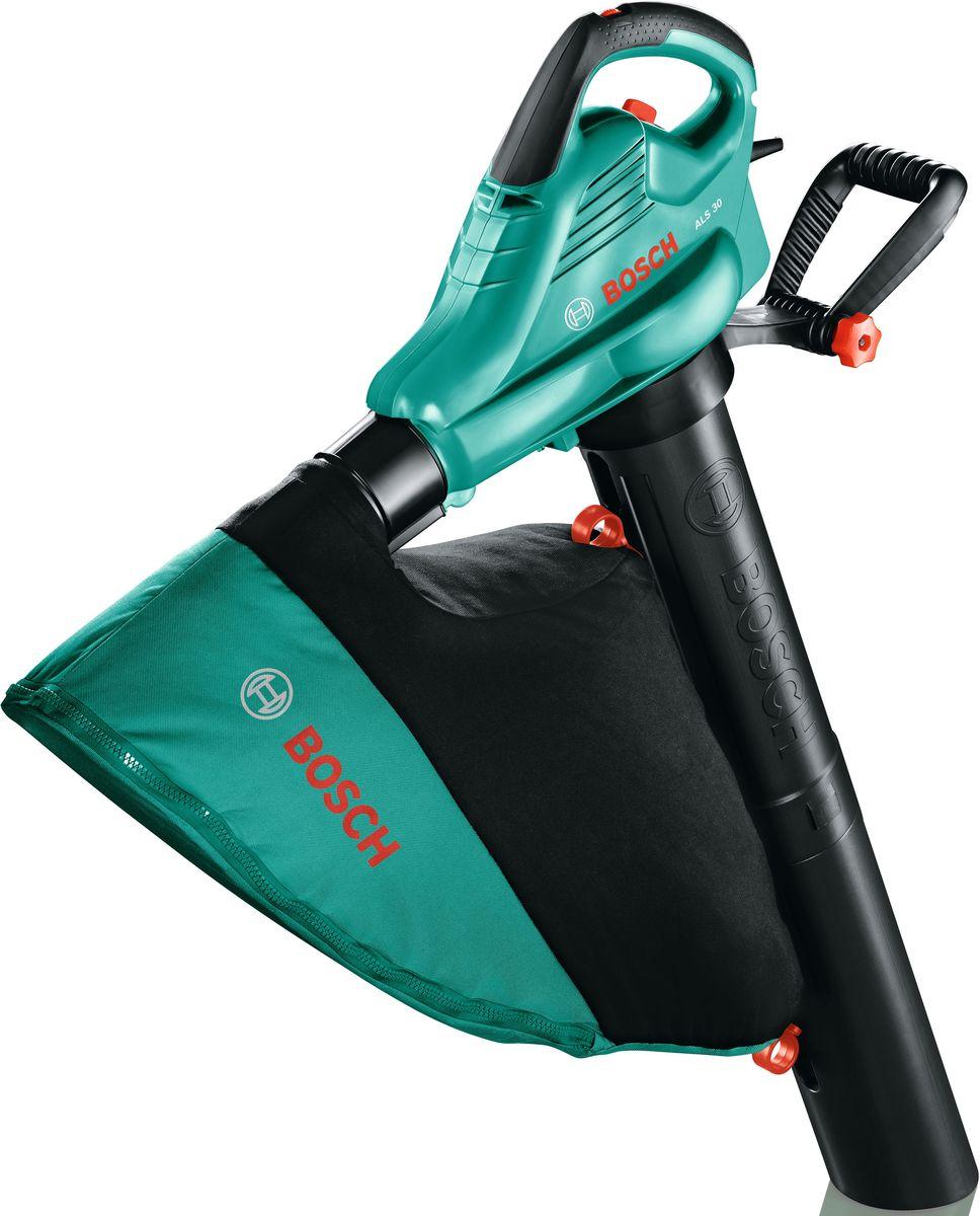Воздуходувка-пылесос Bosch ALS 3006008A1100Воздуходувка-пылесос Bosch ALS 30- инструмент для уборки территории, сбора сухих листьев возле дома и в саду. Имеет режим садового пылесоса, режим измельчение и режим обдува. Скорость воздушного потока регулируется в диапазоне 280-300 км/ч. Устройство комплектуется насадками, травосборником объемом 45 л и плечевым ремнем для снижения нагрузки на руки. Дополнительная рукоятка имеет возможность наклона - для более комфортного захвата. Комплектация:- сопло, - двухсоставная труба для пылесоса, - защитная крышка, - травосборник, - плечевой ремень.Технические характеристики: - тип: электрический, - мощность: 3 кВт, - мощность: 4,08 л.с, - максимальный объем воздуха: 800 куб.м/ч, - функции: обдув, измельчение, всасывание ,- вес: 4,4 кг,- ранцевый: нет, - максимальная скорость воздуха: 83,3 м/с, - мусоросборник: есть, - объем мусоросборника: 45 л.