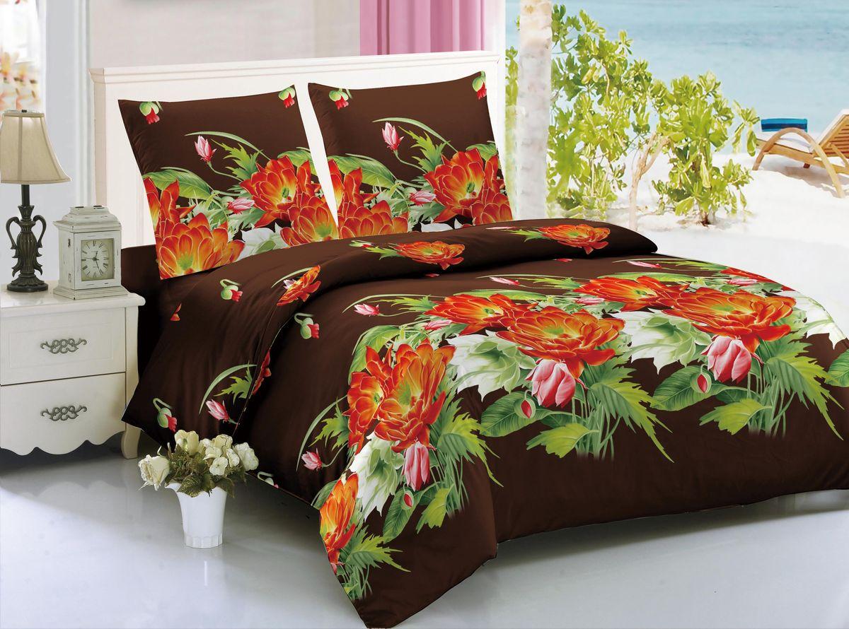 Комплект белья Amore Mio Munich, евро, наволочки 70x70, цвет: коричневый, красный, зеленый комплект белья amore mio bangkok евро наволочки 70x70