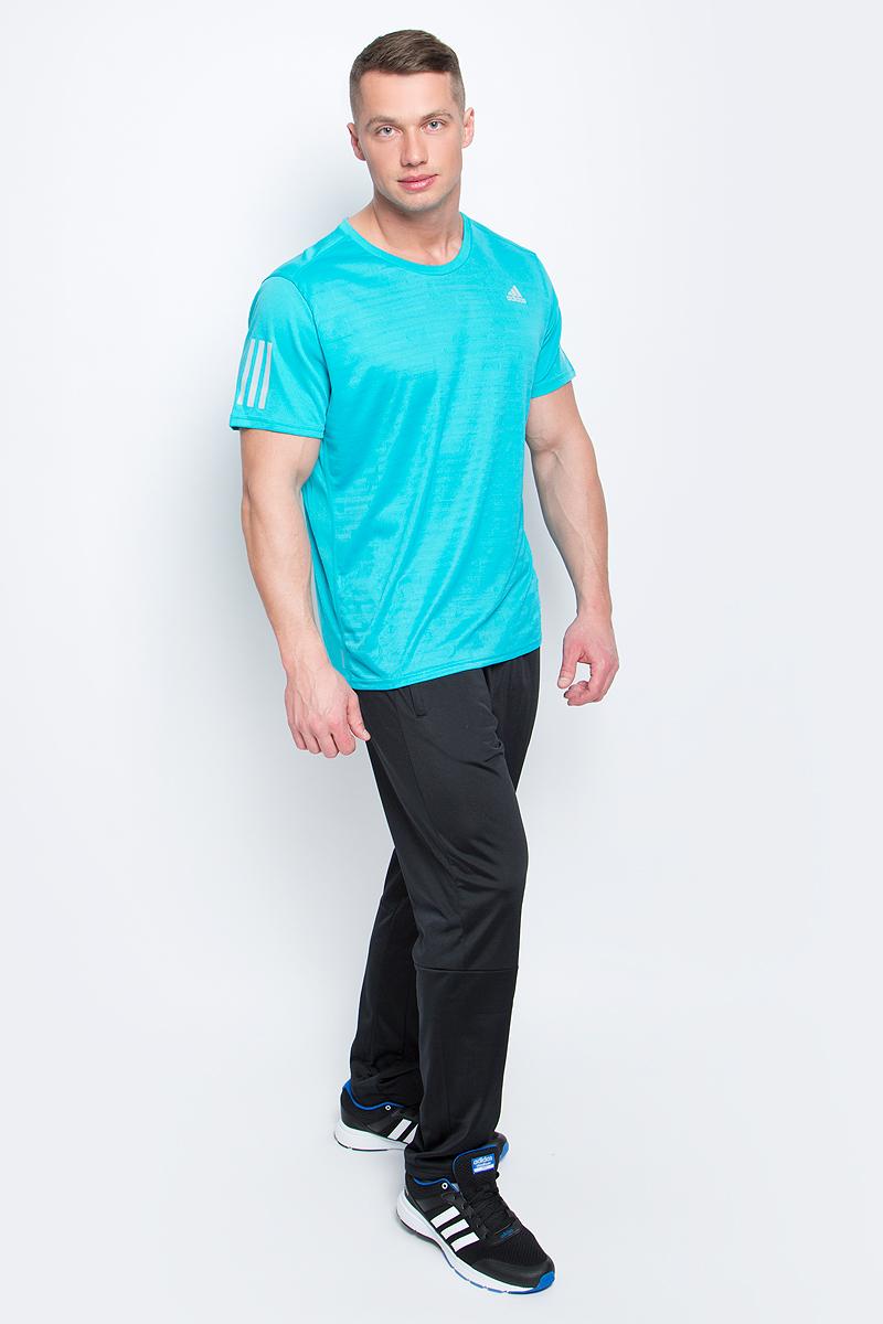 Футболка для бега мужская adidas Rs Ss Tee M, цвет: бирюзовый. BP7422. Размер M (48/50)BP7422Мужская спортивная футболка Adidas Rs Ss Tee M изготовлена из полиэстера с добавлением полиэфира по технологии climalite, что обеспечивает быстрое влагоотведение с поверхности тела. Модель с круглой горловиной и короткими рукавами. Однотонная футболка декорирована принтом с логотипом бренда и светоотражающими полосами на рукавах.