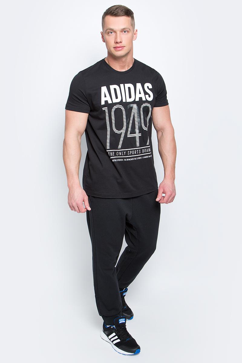 Футболка мужская adidas Adi 49, цвет: черный. BK2788. Размер L (52/54)BK2788Мужская футболка adidas Adi 49 выполнена из натурального хлопка. Модель с короткими рукавами и круглым вырезом горловины оформлена буквенным принтом контрастного цвета.