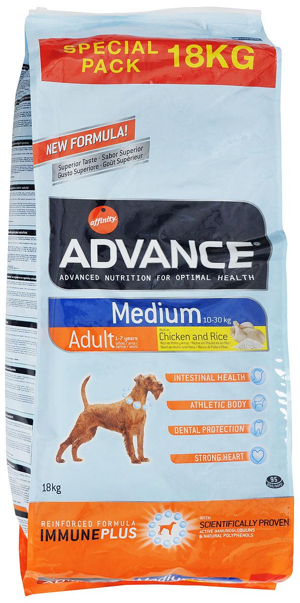 Корм сухой Advance Medium Adult для собак средних пород, с курицей и рисом, 18 кг46478Advance Maxi Adult - высококачественный корм супер-премиум класса. Разработан с учетом всех особенностей развития и жизнедеятельности собак. Advance Medium Adult является уникальной комбинацией активных иммуноглобулинов и и натуральных полифенолов. Иммуноглобулины. Натуральные белки, которые позволяют поддерживать здоровье желудка и кишечника.Природные полифенолы. Вместе с витаминами они позволяют сдерживать старение клеток.Хондроитин сульфат и глюкозамин. Их совместное действие способствует поддержанию хрящей суставов в хорошем состоянии и тем самым предупреждает проблемы с суставами.Курица и рис, основные ингредиенты. Превосходные источники высокоусваиваемых белков и углеводов для сбалансированного питания.Пирофосфаты. Специальные минералы, которые помогают предотвращать отложение камней и поддерживают хорошее дыхание.Таурин. Аминокислота, способствующая поддержанию правильной функции сердца.Не содержит искусственных красителей или консервантов. Товар сертифицирован.