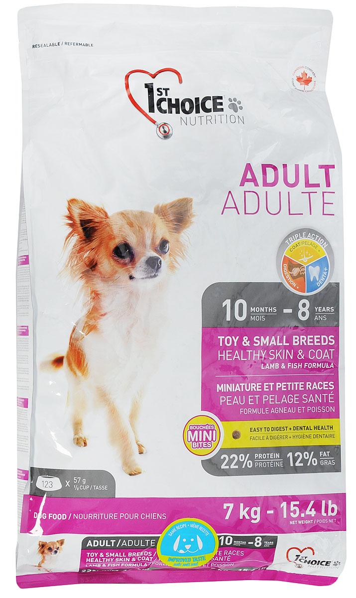 """Корм сухой """"1st Choice"""" для декоративных собак, с ягненком, рыбой и рисом, 7 кг"""