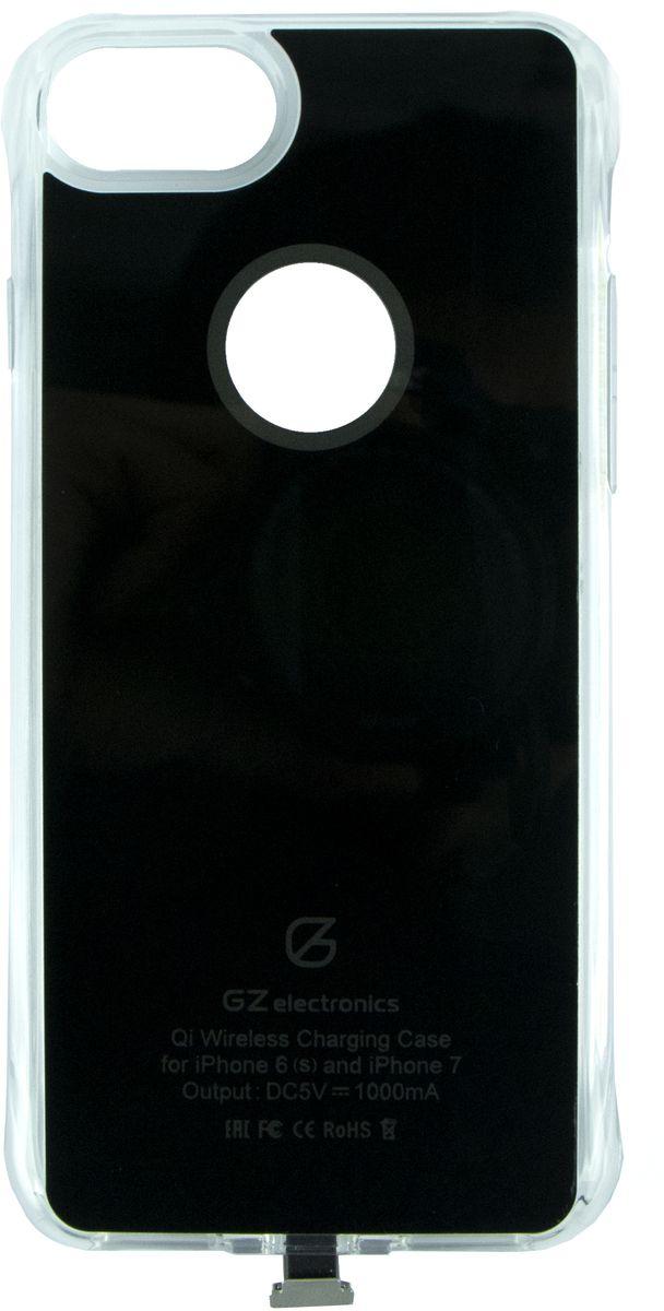 GZ electronics GZ-ACI7 чехол для беспроводной зарядки для iPhone 6/6s/7, BlackGZ-ACI7(BK)Чехол для беспроводной Qi зарядки GZ-ACI7 разработан для моделей смартфонов iPhone 6, 6s, 7 и позволяет не только защищать устройство от царапин, деформации и возможных поломках при падении, но и заряжать его беспроводным способом (метод магнитной индукции Qi). В чехол встроен чипсет Texas Instruments, который ускоряет зарядку смартфона, увеличивая исходящий ток до 1,5 А. LED индикация отображает статус заряда – голубой цвет означает, что идет процесс зарядки, зеленый цвет сообщает о завершении заряда. Вы можете не беспокоиться за свои цифровые устройства – аксессуар имеет надежную защиту от замыканий, перегрузок, напряжения и перегрева и автоматически отключается при 100% зарядке.Чехол GZ-ACI7 выполнен из гибкого полиуретана и легко одевается на смартфон. Устройство станет незаменимым аксессуаром для пользователей, которые привыкли к мобильности и хотят использовать на работе и дома новые передовые технологии