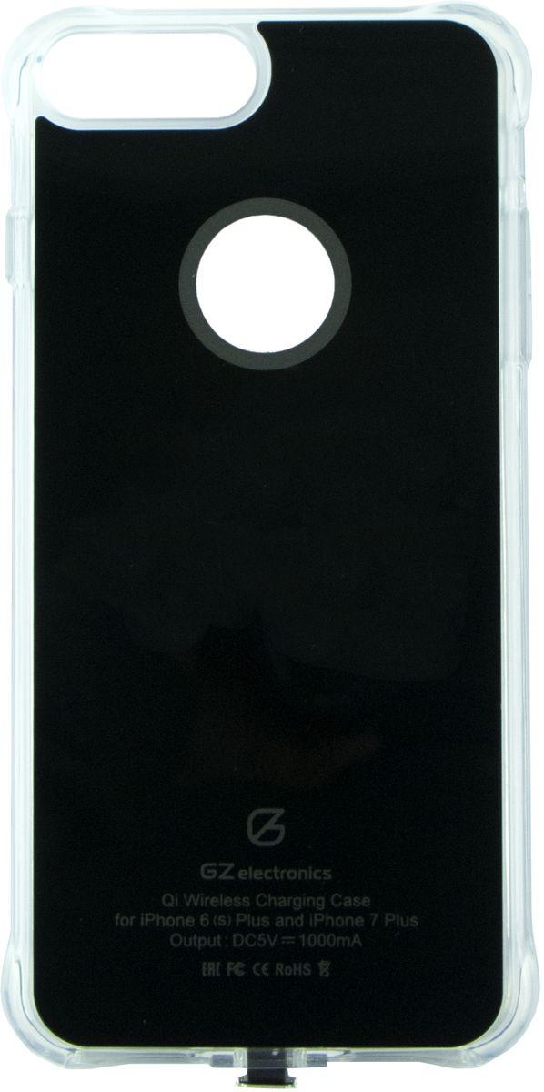 GZ electronics GZ-ACI7+ чехол для беспроводной зарядки для iPhone 6 Plus/ 6s Plus/7 Plus, BlackGZ-ACI7+(BK)Чехол для беспроводной Qi зарядки GZ-ACI7+ разработан для моделей смартфонов iPhone 6 Plus, 6s Plus, 7 Plus и позволяет не только защищать устройство от царапин, деформации и возможных поломках при падении, но и заряжать его беспроводным способом (метод магнитной индукции Qi). В чехол встроен чипсет Texas Instruments, который ускоряет зарядку смартфона, увеличивая исходящий ток до 1,5 А. LED индикация отображает статус заряда – голубой цвет означает, что идет процесс зарядки, зеленый цвет сообщает о завершении заряда. Вы можете не беспокоиться за свои цифровые устройства – аксессуар имеет надежную защиту от замыканий, перегрузок, напряжения и перегрева и автоматически отключается при 100% зарядке.Чехол GZ-ACI7 выполнен из гибкого полиуретана и легко одевается на смартфон. Устройство станет незаменимым аксессуаром для пользователей, которые привыкли к мобильности и хотят использовать на работе и дома новые передовые технологии