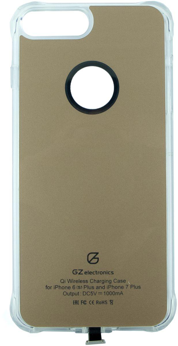 GZ electronics GZ-ACI7+ чехол для беспроводной зарядки для iPhone 6 Plus/ 6s Plus/7 Plus, GoldGZ-ACI7+(GD)Чехол для беспроводной Qi зарядки GZ-ACI7+ разработан для моделей смартфонов iPhone 6 Plus, 6s Plus, 7 Plus и позволяет не только защищать устройство от царапин, деформации и возможных поломках при падении, но и заряжать его беспроводным способом (метод магнитной индукции Qi). В чехол встроен чипсет Texas Instruments, который ускоряет зарядку смартфона, увеличивая исходящий ток до 1,5 А. LED индикация отображает статус заряда – голубой цвет означает, что идет процесс зарядки, зеленый цвет сообщает о завершении заряда. Вы можете не беспокоиться за свои цифровые устройства – аксессуар имеет надежную защиту от замыканий, перегрузок, напряжения и перегрева и автоматически отключается при 100% зарядке.Чехол GZ-ACI7 выполнен из гибкого полиуретана и легко одевается на смартфон. Устройство станет незаменимым аксессуаром для пользователей, которые привыкли к мобильности и хотят использовать на работе и дома новые передовые технологии