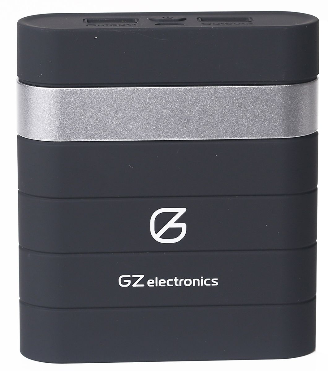 GZ electronics GZ-B10K внешний аккумулятор (10000 мАч)GZ-B10K(BK)Портативный аккумулятор (PowerBank) в корпусе Soft Touch, емкость батареи 10000 мАч, два порта USB, LED индикация уровня заряда, защита от замыканий, перегрузок, напряжения и перегрева, автоматическое отключение при 100% зарядке, время заряда аккумулятора 3,5 часа, полное напряжение батареи 4,15 – 4,2 В, режим заряда линейный, CC/CV, напряжение заряда 5 В ± 5%, выходное напряжение 5 В, выходной ток (работа) 2,1 А пост. тока, выходной ток (ожидание) 0,3 А пост. тока, в комплекте PowerBank, переходник Lightning, кабель microUSB, инструкция, гарантийный талон, материал: пластик