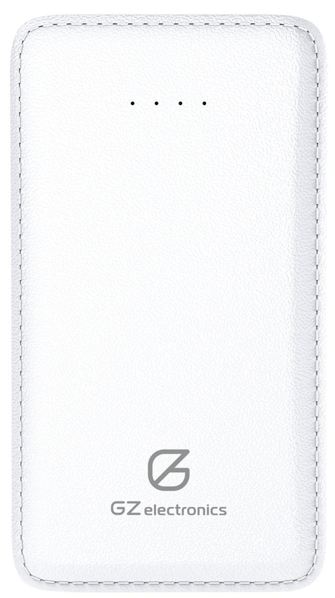 GZ electronics GZ-B5K внешний аккумулятор (5000 мАч)GZ-B5K(W)Батарея заряжается до 100% примерно за 3,5 часа и по достижении полного заряда автоматически отключается. Вы можете не беспокоиться за свои цифровые устройства - PowerBank имеет надежную защиту от замыканий, перегрузок, напряжения и перегрева. Для удобства в корпус батареи встроен фонарик, а в комплект поставки входит кабель microUSB и переходник Lightning для пользователей iPhone.PowerBank GZ-B5K отличается ультра-тонким корпусом и малым весом. Батарея выполнена из качественного пластика белого цвета с имитацией кожи.Устройство станет стильным аксессуаром на каждый день и легко поместится в карман или в небольшую женскую сумочку.
