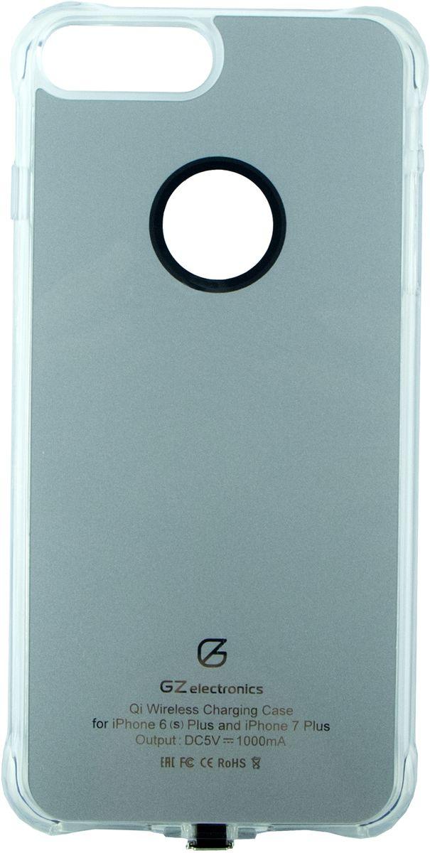 GZ electronics GZ-ACI7+ чехол для беспроводной зарядки для iPhone 6 Plus/ 6s Plus/7 Plus, SilverGZ-ACI7+(SG)Чехол для беспроводной Qi зарядки GZ-ACI7+ разработан для моделей смартфонов iPhone 6 Plus, 6s Plus, 7 Plus и позволяет не только защищать устройство от царапин, деформации и возможных поломках при падении, но и заряжать его беспроводным способом (метод магнитной индукции Qi). В чехол встроен чипсет Texas Instruments, который ускоряет зарядку смартфона, увеличивая исходящий ток до 1,5 А. LED индикация отображает статус заряда – голубой цвет означает, что идет процесс зарядки, зеленый цвет сообщает о завершении заряда. Вы можете не беспокоиться за свои цифровые устройства – аксессуар имеет надежную защиту от замыканий, перегрузок, напряжения и перегрева и автоматически отключается при 100% зарядке.Чехол GZ-ACI7 выполнен из гибкого полиуретана и легко одевается на смартфон. Устройство станет незаменимым аксессуаром для пользователей, которые привыкли к мобильности и хотят использовать на работе и дома новые передовые технологии