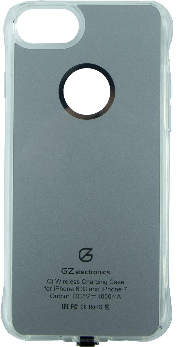 GZ electronics GZ-ACI7 чехол для беспроводной зарядки для iPhone 6/6s/7, SilverGZ-ACI7(SG)Чехол для беспроводной Qi зарядки GZ-ACI7 разработан для моделей смартфонов iPhone 6, 6s, 7 и позволяет не только защищать устройство от царапин, деформации и возможных поломках при падении, но и заряжать его беспроводным способом (метод магнитной индукции Qi). В чехол встроен чипсет Texas Instruments, который ускоряет зарядку смартфона, увеличивая исходящий ток до 1,5 А. LED индикация отображает статус заряда – голубой цвет означает, что идет процесс зарядки, зеленый цвет сообщает о завершении заряда. Вы можете не беспокоиться за свои цифровые устройства – аксессуар имеет надежную защиту от замыканий, перегрузок, напряжения и перегрева и автоматически отключается при 100% зарядке.Чехол GZ-ACI7 выполнен из гибкого полиуретана и легко одевается на смартфон. Устройство станет незаменимым аксессуаром для пользователей, которые привыкли к мобильности и хотят использовать на работе и дома новые передовые технологии