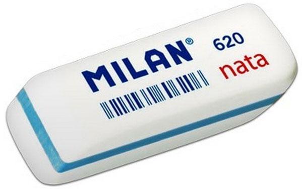Milan Ластик Nata 620 cкошенныйCPM620Ластик Milan Nata 620 - это двухкомпонентный синтетический мягкий ластик. Не повреждает бумагу. На каждый ластик нанесен штрикод.