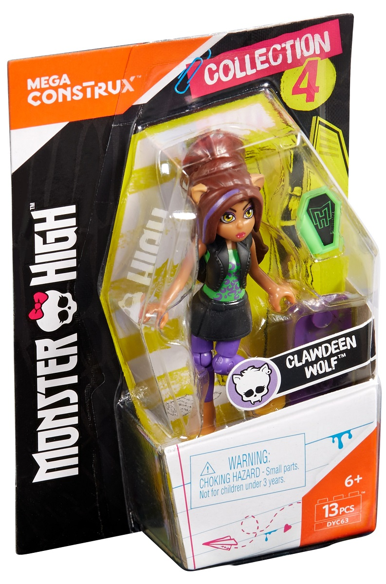 Mega Bloks Monster High Конструктор Базовая фигурка Клодин Вульф мини фигурка mega bloks monster high 9 см