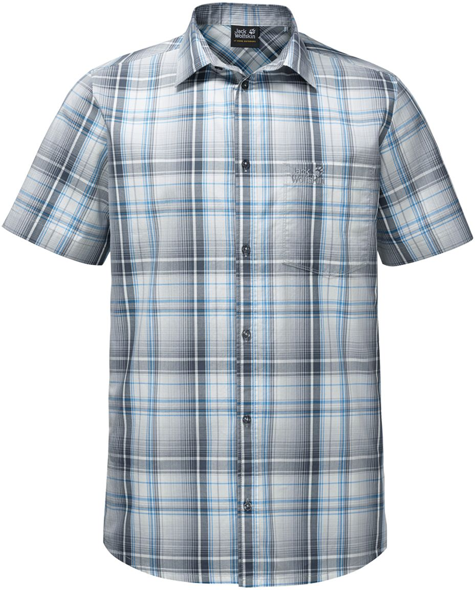 Рубашка мужская Jack Wolfskin Hot Chili Shirt M, цвет: голубой, серый. 1400244-7659. Размер L (48/50)1400244-7659Рубашка мужская Hot Chili Shirt M изготовлена из 100% натурального хлопка. В ней вы будете чувствовать себя комфортно в жаркую погоду. Модель отлично вентилируется и дает ощущение прохлады. Рубашка застегивается на пуговицы, имеет отложной воротник и короткие стандартные рукава. Спереди расположен накладной нагрудный карман. Рубашка дополнена принтом в клетку и логотипом бренда.