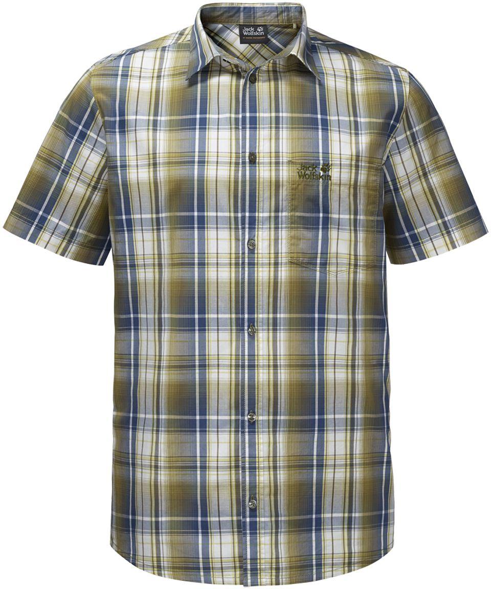 Рубашка мужская Jack Wolfskin Hot Chili Shirt M, цвет: оливковый, синий. 1400244-7531. Размер XL (52)1400244-7531Рубашка мужская Hot Chili Shirt M изготовлена из 100% натурального хлопка. В ней вы будете чувствовать себя комфортно в жаркую погоду. Модель отлично вентилируется и дает ощущение прохлады. Рубашка застегивается на пуговицы, имеет отложной воротник и короткие стандартные рукава. Спереди расположен накладной нагрудный карман. Рубашка дополнена принтом в клетку и логотипом бренда.