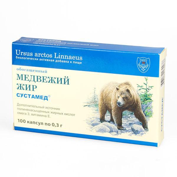 Медвежий жир Сустамед, обогащенный, капсулы 0,3 г, №10026739В медвежьем жире содержатся в большом количестве олеиновая кислота, линолевая и линоленовые кислоты, витамины группы В, А, Е, пектины, сапонины,макро- и микроэлементы и другие вещества. Прием внутрь через 2-3 недели значительно усиливает иммунные реакции.Обогащенный медвежий жир рекомендован Минздравом РФ и ИнститутомПитания РАМН РФ к применению в периоды обострения бронхолегочныхзаболеваний как бактерицидное и противовоспалительное средство, а также впериоды употребления антибиотикосодержащих препаратов в качествеобщеукрепляющего и иммуностимулирующего средства.