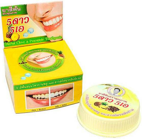 5 Star Cosmetic травяная отбеливающая зубная паста с экстрактом АнанасаA107-202В ананасе содержится большое количество витамина С, который способен укрепить зубы и десны. Также экстракт ананаса препятствует образованию зубного камня, снижает кровоточивость десен и риск заболевания пародонтозом и гингивитом. Зубная паста освежает дыхание и устраняет зубной налет, отбеливает, предотвращает появление кариеса. Подходит для чувствительных зубов. Очень экономична. Не содержит консервантов, фтор и его производных.