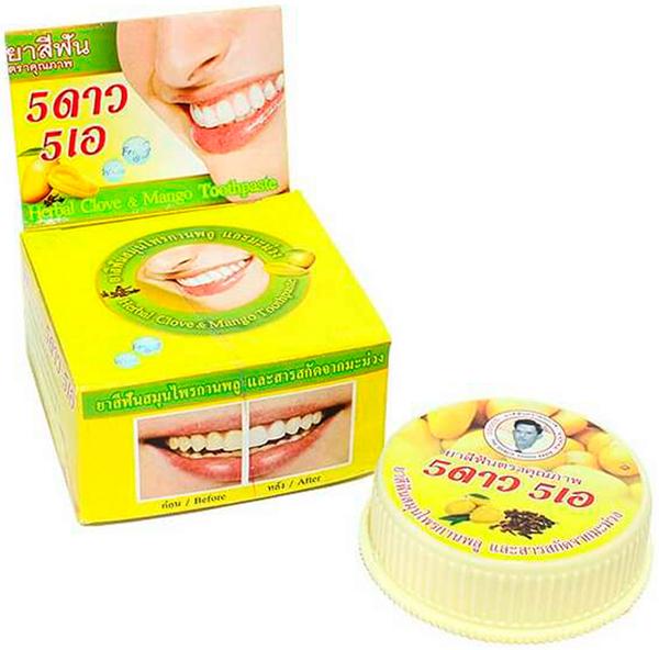 5 Star Cosmetic травяная отбеливающая зубная паста с экстрактом Манго5737774Экстракт манго успешно используется стоматологами для отбеливания зубов. Зубная паста укрепляет десны и препятствует воспалению, заживляет слизистую оболочку полости рта, отбеливает зубную эмаль, предотвращает развитие и появление кариеса и пародонтоза. Подходит для чувствительных зубов. Очень экономична. Не содержит консервантов, фтор и его производных.