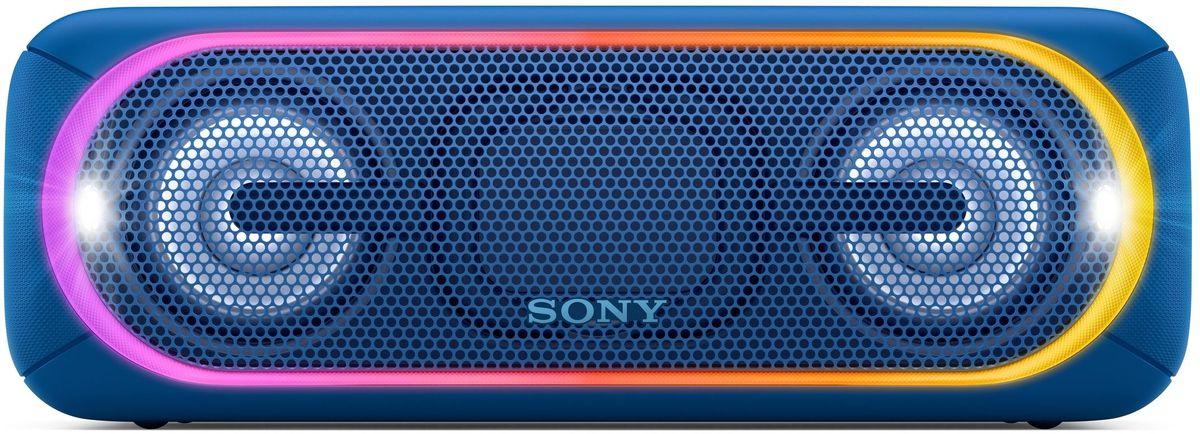 Sony SRS-XB40, Blue портативная акустическая системаSRSXB40L.RU4С мощными басами и яркой подсветкой беспроводная акустическая система SRS-XB40 может превратить любое помещение в настоящий ночной клуб.Чтобы раскачать вечеринку, просто нажмите кнопку EXTRA BASS. Двойные пассивные излучатели в сочетании с полнодиапазонными стереодинамиками усиливают звучание низких частот, придавая им неожиданную глубину для такой компактной системы.Встроенная многоцветная линейная подсветка, стробоскоп и подсветка динамиков помогут вам увидеть ритм своими глазами.Беспроводную акустическую систему SRS-XB40 можно брать с собой куда угодно: она удобна в переноске, не боится воды и не разрядится до самого окончания вечеринки.Любимая музыка будет с вами всегда и везде, даже у бассейна или на берегу моря: благодаря защите IPX5 эта беспроводная акустическая система не боится воды.Слушайте музыку день и ночь напролет: эта система работает от аккумулятора до 24 часов, а когда понадобится подзарядка, система сама сообщит вам голосовым уведомлением.Устройте настоящую танцевальную вечеринку, объединив до 10 динамиков по Bluetooth в одну беспроводную систему с помощью функции Party Chain для одновременного воспроизведения музыки и настройки световых эффектов.Быстро и легко управляйте воспроизведением со смартфона через приложение Sony | Music Center (ранее называвшееся SongPal). Просто установите приложение и регулируйте звук, подсветку и прочие настройки.Управляйте воспроизведением музыки, подсветкой и DJ-эффектами прямо со смартфона в приложении Fiestable.Слушайте музыку без проводов в непревзойденном качестве: кодек LDAC позволяет передавать примерно втрое больше данных (на макс. скорости 990 кбит/с) по сравнению со стандартным протоколом Bluetooth.Подключите смартфон по NFC, просто приложив его к акустической системе, - и начинайте веселиться.Подключите смартфон по USB для одновременной зарядки и воспроизведения музыки.