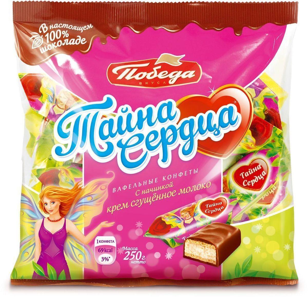 Победа вкуса Тайна сердца вафельные конфеты с начинкой крем сгущенное молоко в молочном шоколаде, 250 г союзконсервмолоко советское молоко сгущенное 270 г