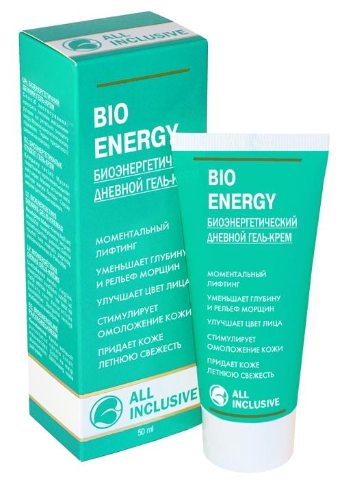 All Inclusive Биоэнергетический дневной гель-крем Bio Energy, 50 мл200101Гель-крем воздействует на основные причины старения кожи. При ежедневном применении гель-крем регулирует физиологические механизмы кожи и тормозит ее старение: кожа становится мягкой и эластичной, сглаживаются морщины и складки, улучшается рельеф. Витамин Е, D-пантенол и масло рыжика (природный аналог витамина F) компенсируют и восстанавливают баланс естественного процесса гидратации кожи: эпидермис вновь обретает живость и свежесть молодой кожи. Алоэ и зеленый чай - мощные антиоксиданты, обновляют и тонизируют кожу, придают упругость и эластичность, укрепляют стенки мельчайших сосудов.