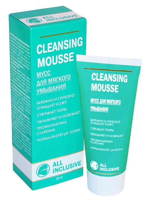 All Inclusive Мусс для мягкого умывания Cleansing Mousse, 50 мл200301Уже на стадии очищения мусс восстанавливает жизненные силы кожи, возвращая ей свежесть. Тщательно сбалансированный комплекс экстрактов лекарственных растений зверобоя, календулы, ромашки и череды является живительным источником витаминов, которые прекрасно освежают, тонизируют и восстанавливают кожу, смягчают ее, а также действуют как антиоксиданты. Масло рыжика богато полиненасыщенными жирными кислотами, благодаря чему питает и активно увлажняет кожу. Специально подобранная комбинация активных компонентов бережно удаляет макияж и различные загрязнения и очищает кожу любого типа, не пересушивая ее, нормализует рН кожи. Превращающийся в мягкую пену мусс великолепно очищает кожу, не вызывая раздражения, приносит ощущение чистоты и свежести. Защищает от негативного действия хлорированной водопроводной воды.