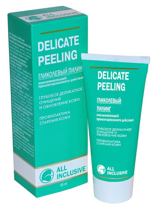 All Inclusive Гликолевый пилинг, Омолаживающий, пролонгированного действия Delicate Peeling, 50 мл200501Гликолевый пилинг очень деликатно воздействует на кожу. Гликолевая кислота обладает отшелушивающим действием, улучшает барьерную функцию кожи, стимулирует обновление волокон коллагена и эластина, что обеспечивает выраженный омолаживающий и мощный лифтинговый эффект, способствует устранению возрастных морщин. Комплекс альфа-гидроксикислот улучшает цвет, выравнивает текстуру кожи, повышает уровень ее увлажненности и эластичности, улучшая тонус кожи, разглаживает ее, способствует сужению пор за счет отшелушивания верхнего мертвого слоя эпидермиса. Пилинг активизирует действие Вашего крема.
