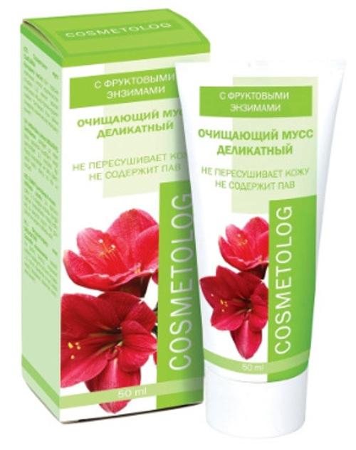Cosmetolog Очищающий мусс Деликатный с фруктовыми энзимами, 50 мл300301Разработан на основе фруктовых энзимов с ультрамягкими моющими свойствами. Не содержит синтетических ПАВ, не раздражает и не пересушивает кожу. Деликатно и тщательно очищает кожу любого типа от поверхностных загрязнений и макияжа (в том числе с глаз), удаляет продукты метаболизма, токсины и излишки кожного сала, сохраняя оптимальный уровень увлажненности. Не образует пены. Зеленый чай – мощный антиоксидант, тонизирует кожу,придает упругость и эластичность, предупреждает преждевременное старение, оказывает освежающее и защитное действие. Мусс заметно смягчает негативное действие на кожу жесткой и хлорированной воды.