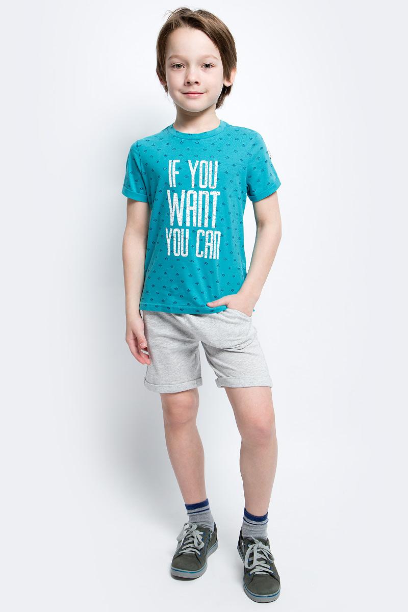 Футболка для мальчика Button Blue Main, цвет: бирюзовый. 117BBBC12042813. Размер 122, 7 лет117BBBC12042813Яркие футболки с рисунком - хит сезона. Динамичный принт создает летнее настроение и делает модель яркой и запоминающейся. Если вы решили купить недорогую футболку для мальчика, обратите внимание на модель от Button Blue. Эта футболка станет выразительным акцентом повседневного образа, сделав каждый комплект оригинальным и необычным.