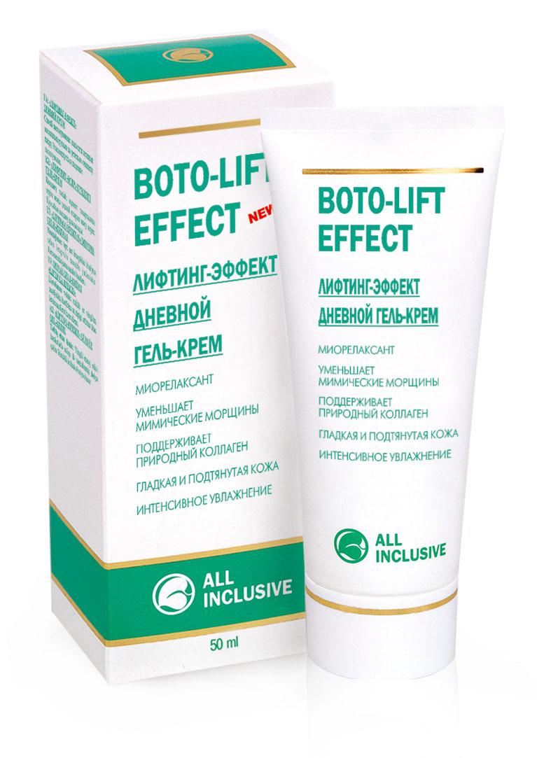 All Inclusive Лифтинг-эффект дневной гель крем Boto-Lift Effect, 50 мл200106Calmosensine - биомимический пептид, миорелаксант, обладающийдействием, подобным инъекциям ВТХ, расслабляет подкожные мышцы, разглаживает мимические морщины,выравнивает микрорельеф кожи, дает уникальный подтягивающий эффект. Lipex Shea Tris многократно замедляет скорость разрушения волокон природного коллагена в коже. Экстракт зеленого чая, витамин А, гиалуроновая кислота иконьяк-маннан эффективно борются с основными признаками старения кожи, значительно улучшают ее плотность и структуру, повышают упругость и эластичность. Коллаген и витамин Е обеспечиваютлифтинг и омоложение, кожа теряет вялость, светится изнутри и выглядит моложе. Синергическийкомплекс (Calmosensine+Lipex Shea Tris) укрепляет коллагеновый матрикс кожи, разглаживаетморщины и препятствует образованию новых.Гель-крем обладает мгновенным и долгосрочным эффектом. Без возрастных ограничений, в зависимости от состояния кожи.