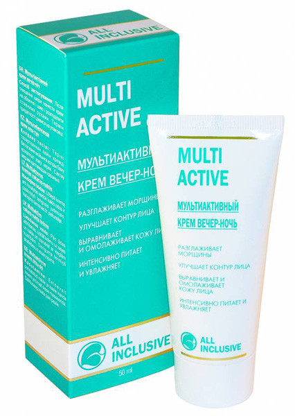 All Inclusive Мультиактивный крем вечер-ночь Multi Active, 50 мл200102Крем - полноценное средство ухода за кожей ночью, снимающее усталость, способствующее обновлению и корректирующее недостатки, связанные со старением. Витамины С иЕ, коллаген и D-пантенол расслабляют кожу, снимают напряжение, разглаживают морщины. Экстракты алоэ, красного винограда и женьшеня - мощнейшие антиоксиданты, омолаживают и тонизируют кожу, придают упругость и эластичность, укрепляют стенки мельчайших сосудов, противостоят разрушению волокон коллагена, эластина, гиалуроновойкислоты -основных укрепляющих составляющих кожи. Обогащенная насыщенная текстура крема идеально смягчает кожу.