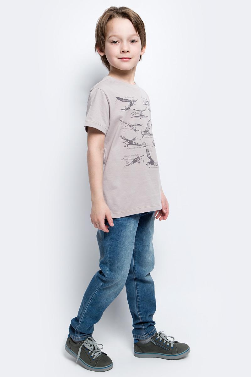 Футболка для мальчика Sela, цвет: серо-бежевый. Ts-811/1060-7112. Размер 152, 12 лет футболка для девочки sela цвет лиловый tsl 611 984 7223 размер 152 12 лет