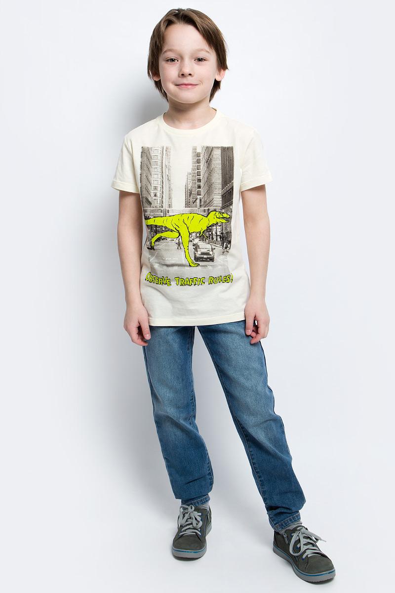 Футболка для мальчика Sela, цвет: серовато-янтарный. Ts-811/1066-7121. Размер 128, 8 летTs-811/1066-7121Стильная футболка для мальчика Sela изготовлена из натурального хлопка и оформлена оригинальным принтом. Воротник дополнен мягкой трикотажной резинкой.Яркий цвет модели позволяет создавать модные образы.