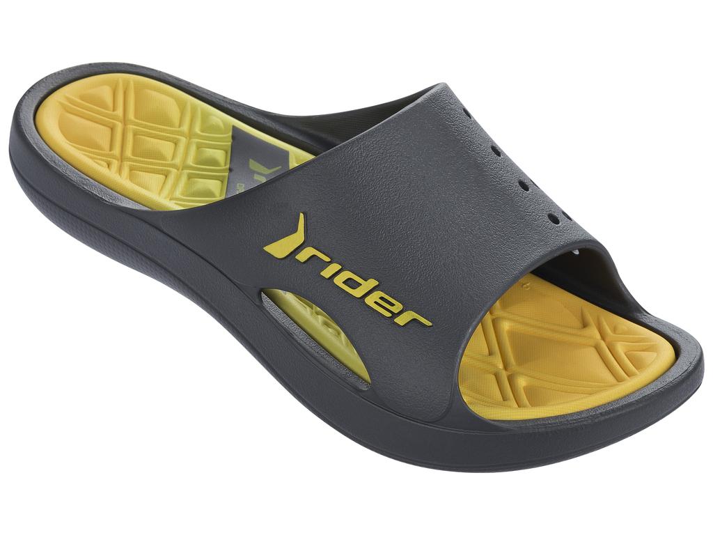 Купить Шлепанцы мужские Rider Bay Vi Ad, цвет: темно-серый, желтый. 81901-24209. Размер 40 (41)