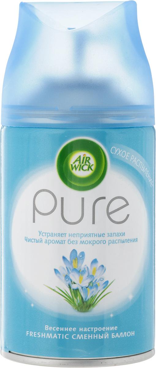 """Автоматический аэрозольный освежитель воздуха Air Wick """"Pure. Весеннее настроение"""" - разработан специально, чтобы наполнять ваш дом приятным ароматом.Сменный флакон к автоматическому аэрозольному освежителю воздуха легко использовать, просто вставьте аэрозоль в диспенсер и Air Wick будет автоматически распылять свежий, легкий аромат в вашем доме.Освежитель воздуха Air Wick """"Pure. Весеннее настроение"""" не содержит воды и эффективно устраняет неприятные запахи без мокрого распыления. Используйте освежители воздуха Air Wick в каждой комнате, наполняя ваш дом свежими и приятными ароматами. Используйте только с диспенсером Air Wick. Перед тем, как вставить аэрозоль, проверьте, что диспенсер выключен. Не направляйте в лицо при включении или при установке интервала распыления. После включения распыление начнется автоматически через 15 сек.Диспенсер в комплект не входит.Состав: бутан, пропан, этиловый спирт денатурированный, ароматизатор, бутилфенил метилпропиональ, гексилциннамаль, d-лимонен, a-изометил оинон, цитронеллол, цитраль.Товар сертифицирован."""