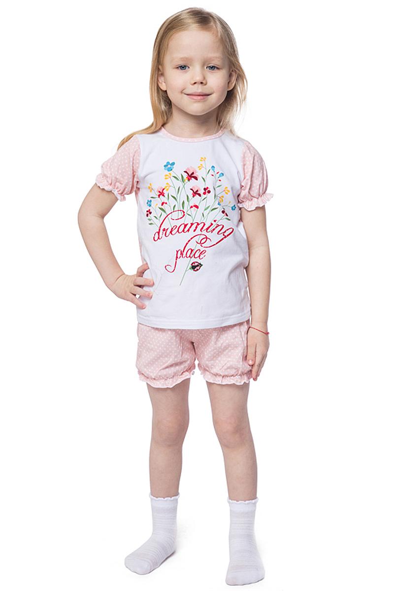 Пижама для девочки PlayToday, цвет: белый, розовый. 146002. Размер 116146002Пижама, состоящая из футболки и шорт, прекрасно подойдет для домашнего использования. Мягкий, приятный к телу материал не сковывает движений. Яркий стильный принт является достойным украшением данного изделия. Шорты на мягкой удобной резинке.