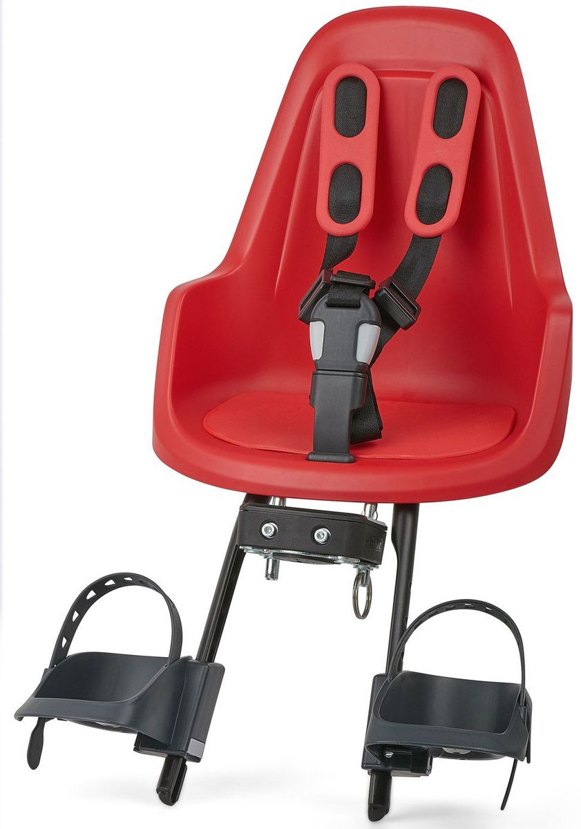 Велокресло переднее Bobike One Mini, крепление на руль, цвет: красный