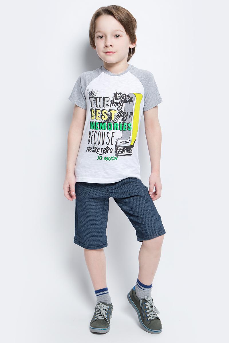 Футболка для мальчика Silver Spoon Casual, цвет: белый, серый. SCFSB-628-14607-808 мод.M5-001. Размер 134