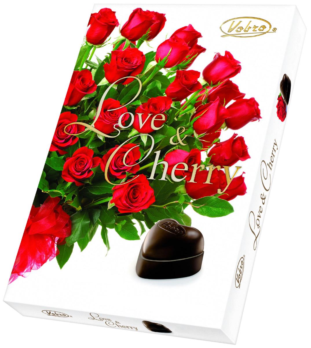 Vobro Love&Cherry Любовь и вишня набор шоколадных конфет вишня в ликере, 187 г vobro frutti di mare набор шоколадных конфет в виде морских ракушек 175 г