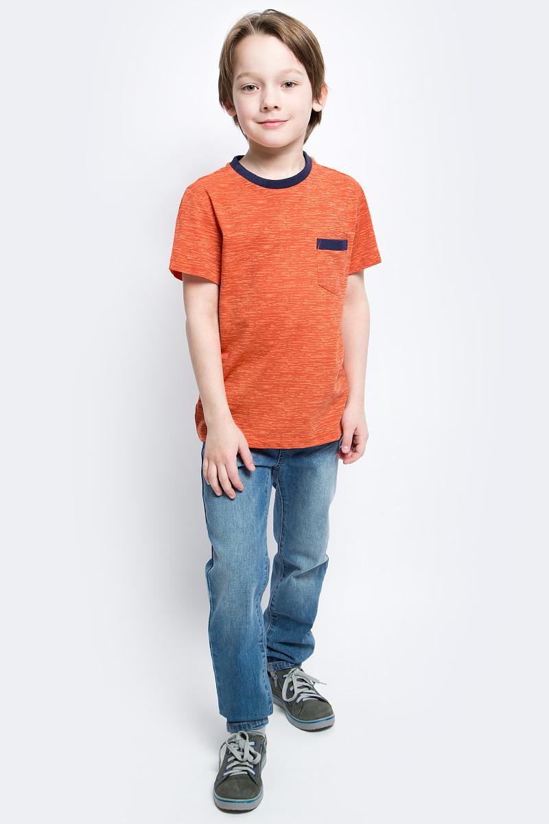 Футболка для мальчика Sela, цвет: оранжевый. Ts-811/1053-7140. Размер 116, 6 летTs-811/1053-7140Футболка для мальчика Sela с короткими рукавами и круглым вырезом горловины выполнена из хлопка с добавлением полиэстера. Футболка украшена принтом меланж и дополнена накладным нагрудным кармашком. Горловина отделана трикотажной резинкой.
