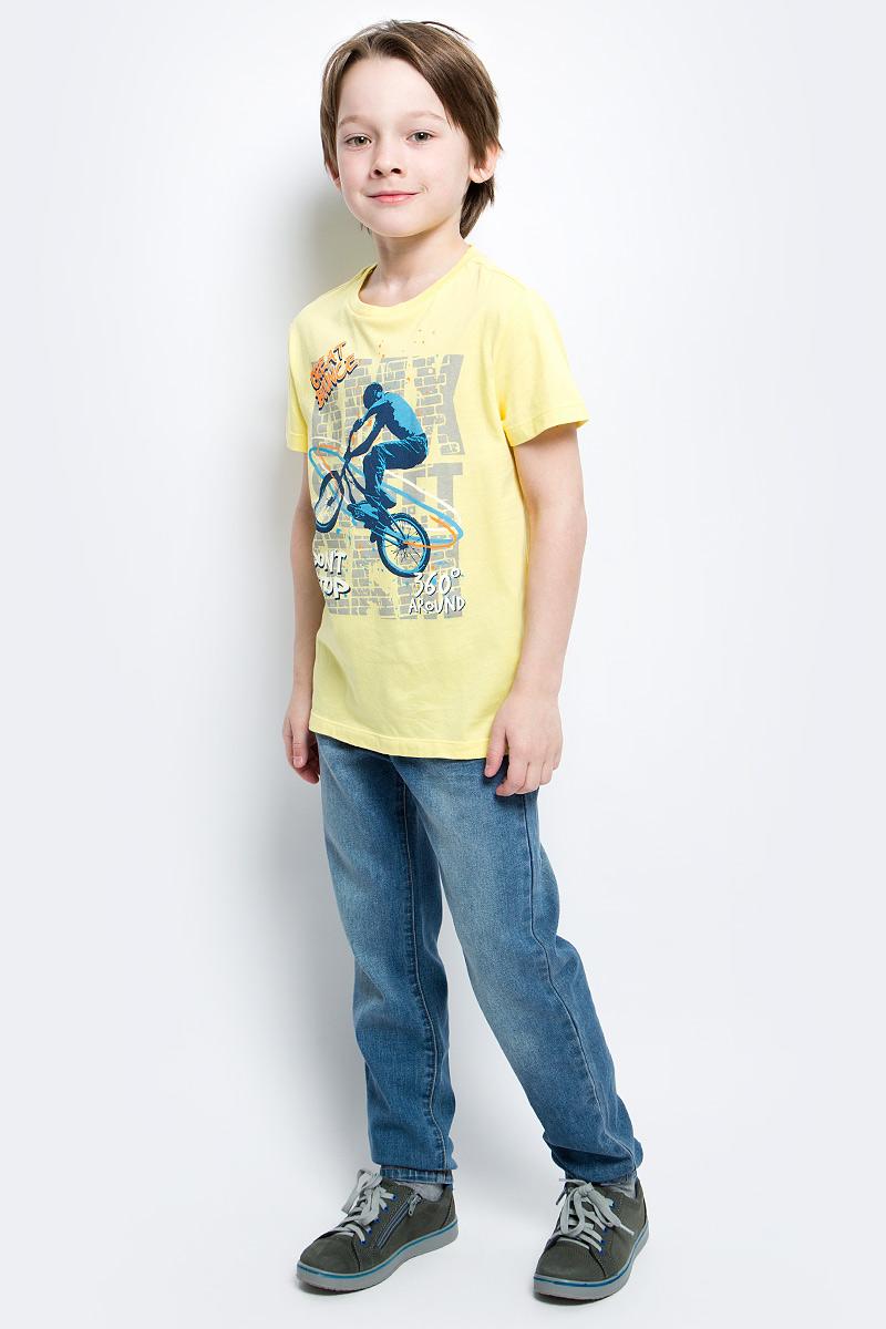 Футболка для мальчика Sela, цвет: ярко-желтый. Ts-811/1081-7122. Размер 140Ts-811/1081-7122Стильная футболка для мальчика Sela изготовлена из натурального хлопка и оформлена оригинальным принтом. Воротник дополнен мягкой трикотажной резинкой.Яркий цвет модели позволяет создавать модные образы.