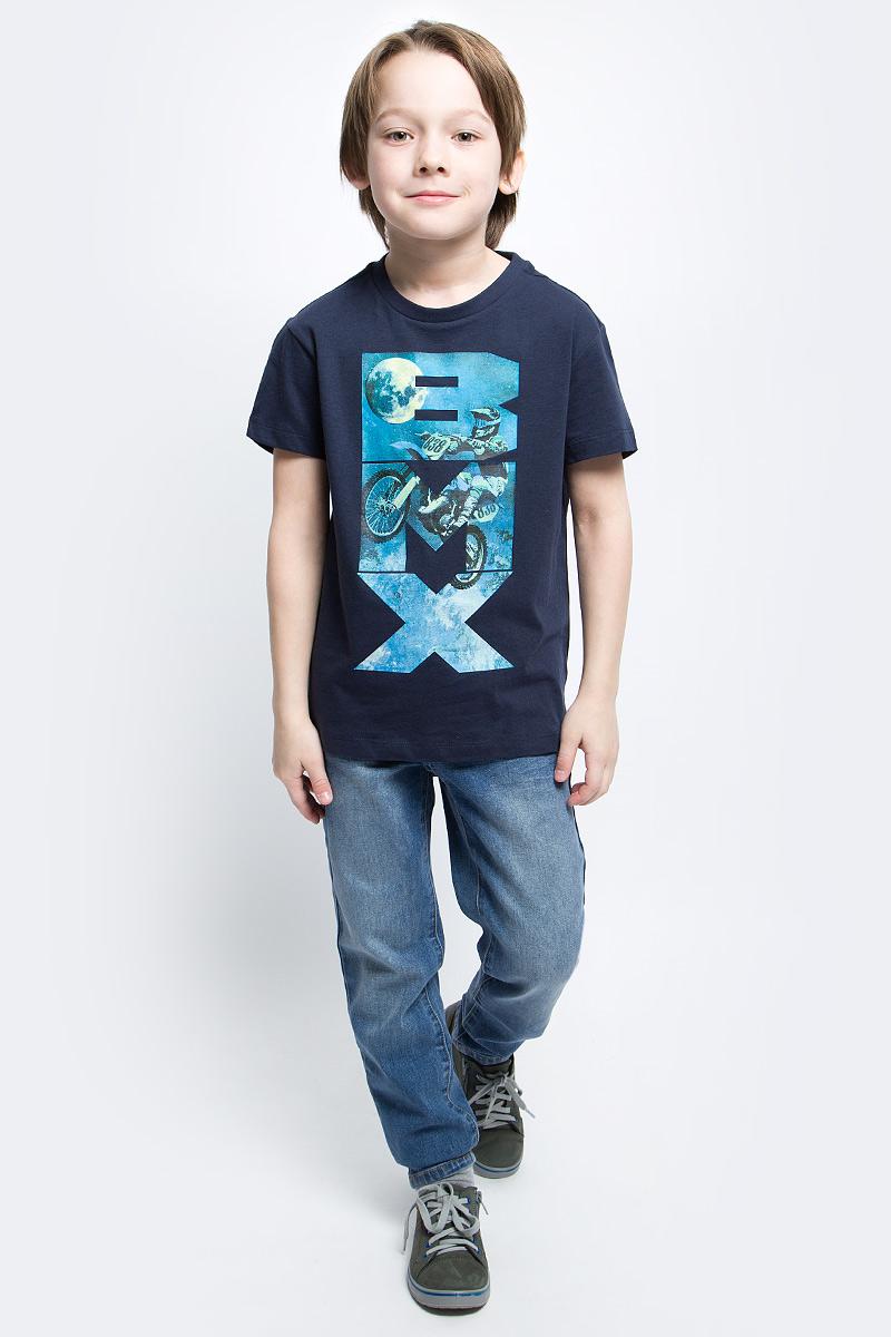 Футболка для мальчика Sela, цвет: темно-синий. Ts-811/1086-7122. Размер 146, 11 лет футболка для мальчика sela цвет светло серый меланж ts 811 109 7331 размер 152