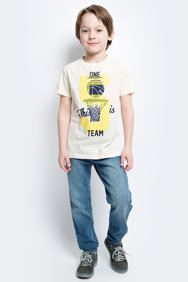 Футболка для мальчика Sela, цвет: серовато-янтарный. Ts-811/1083-7122. Размер 140Ts-811/1083-7122Стильная футболка для мальчика Sela изготовлена из натурального хлопка и оформлена оригинальным принтом. Воротник дополнен мягкой трикотажной резинкой.Яркий цвет модели позволяет создавать модные образы.