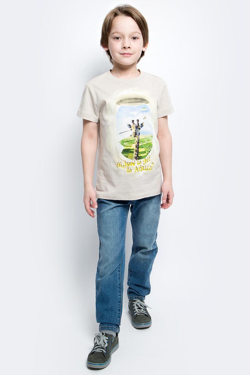 Футболка для мальчика Sela, цвет: серебристо-бежевый. Ts-811/1055-7112. Размер 128Ts-811/1055-7112Стильная футболка для мальчика Sela изготовлена из натурального хлопка и оформлена оригинальным принтом. Воротник дополнен мягкой трикотажной резинкой.Яркий цвет модели позволяет создавать модные образы.