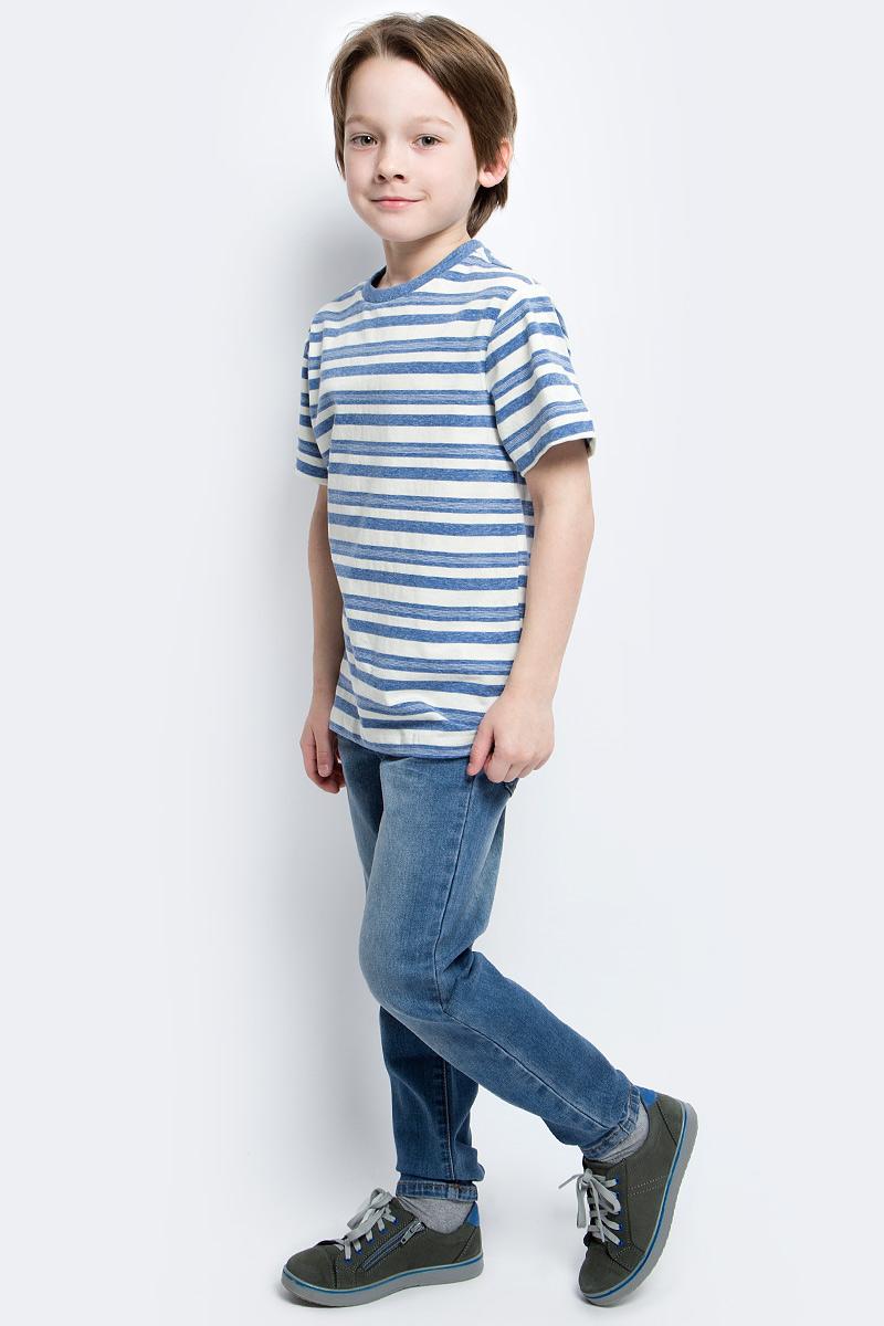 Футболка для мальчика Sela, цвет: синий. Ts-811/1069-7121. Размер 152, 12 летTs-811/1069-7121Стильная футболка для мальчика Sela изготовлена из натурального хлопка и оформлена принтом в полоску. Воротник дополнен мягкой трикотажной резинкой.Яркий цвет модели позволяет создавать модные образы.