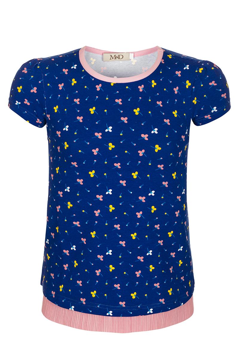 Блузка для девочки M&D, цвет: мультиколор. SJR27033M77. Размер 116SJR27033M77Блузка для девочки M&D выполнена из хлопка. Модель с круглым вырезом горловины и короткими рукавами оформлена оригинальным принтом.