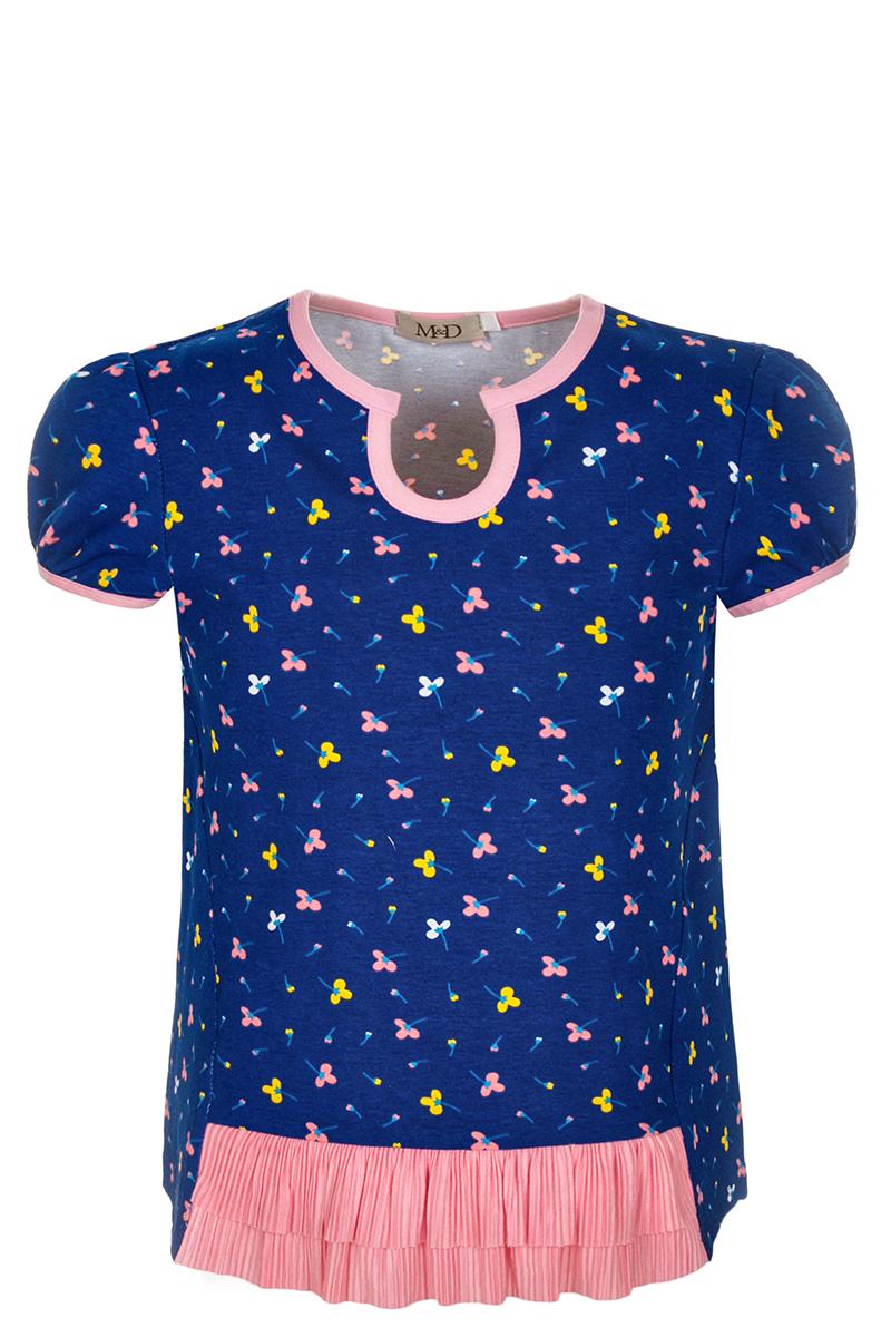 Блузка для девочки M&D, цвет: темно-синий, мультиколор. SJR27020M029. Размер 104SJR27020M029Блузка для девочки M&D выполнена из хлопка. Модель с круглым вырезом горловины и короткими рукавами оформлена оригинальным принтом.