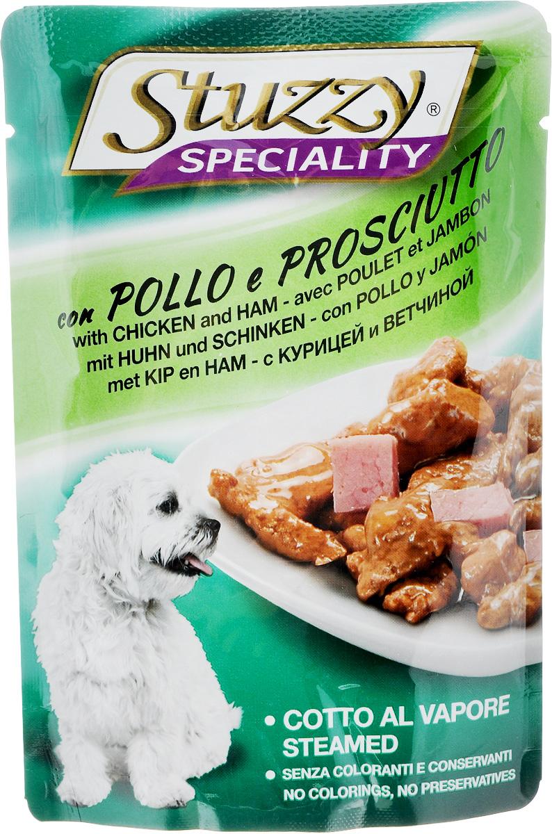Консервы Stuzzy Speciality, для взрослых собак, с курицей и ветчиной, 100 г консервы stuzzy speciality для взрослых кошек с телятиной 100 г